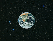 Apollo 17 View Of Earth With Starfield Print by NASA / Science Source