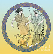 5th Century Bc; Posters - Apollo And Artemis Poster by Photo Researchers