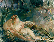 Cuddle Paintings - Apollo Appearing to Latone by Berthe Morisot