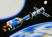 Horizontal Drawings Prints - Apollo-Soyuz Rendevouz in Space Print by A Gragera and Latin Stock and Photo Researchers