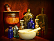 Medicine Bottle Framed Prints - Apothecary - Tools of the Pharmacist Framed Print by Paul Ward