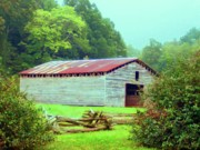 Red Roof Mixed Media Prints - Appalachian Livestock Barn Print by Desiree Paquette