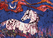 Blue Flowers Tapestries - Textiles Metal Prints - Appaloosa in Flower Field Metal Print by Carol Law Conklin