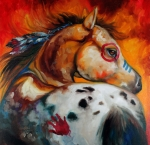 Marcia Prints - Appaloosa Indian War Pony Print by Marcia Baldwin
