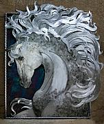 Animals Sculptures - Appaloosa silver by Laura  Knight