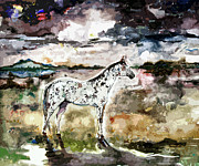 Horses Mixed Media Prints - Appaloosa Spirit Horse Painting Print by Ginette Callaway