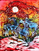 Colorful Fabric Tapestries - Textiles Metal Prints - Appaloosas on a Fiery Night Metal Print by Carol Law Conklin