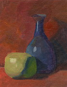 Pottery Paintings - Apple and Blue Vase - Poster Study by Elizabeth B Tucker