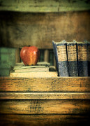 Schoolhouse Posters - Apple and Books on the Teachers Desk Poster by Jill Battaglia