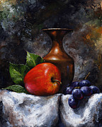 Fruit Still Life Mixed Media Framed Prints - Apple and grapes Framed Print by Emerico Imre Toth