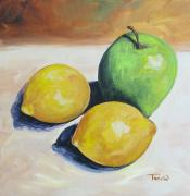 Lemons Metal Prints - Apple and Lemons Metal Print by Torrie Smiley