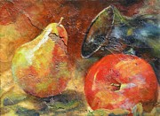 Plaster Painting Posters - Apple and Pear Poster by Chris Brandley