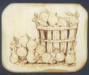 Apples Pyrography - Apple Basket by Kenneth Lambert