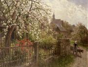 Country Life Paintings - Apple Blossom by Alfred Muhlig