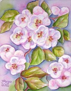 Tree Blossoms Paintings - Apple Blossoms 2 by Inese Poga