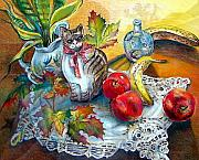 Food And Beverage Drawings Posters - Apple Cat Poster by Linda Shackelford