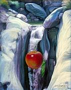 Apples Mixed Media - Apple Falls by Snake Jagger