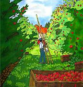 Featured Tapestries - Textiles Posters - Apple Harvest Poster by Linda Marcille