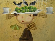 Cage Paintings - Apple king in waiting by Yelena Dyumin