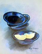Bowls Pastels Framed Prints - Apple on Plates Framed Print by Anju Saran