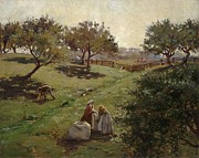 Sack Prints - Apple Orchard Print by Luther  Emerson van Gorder