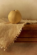 Wooden Photo Framed Prints - Apple Pear On A Table Framed Print by Priska Wettstein
