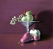 Joe Ogle Paintings - Apple  Pears And Grapes by Joseph Ogle