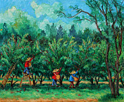 Apple Painting Originals - Apple Pickers  LittleTree Orchard  Ithaca NY by Ethel Vrana