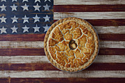 Apple Photos - Apple pie on folk art  American flag by Garry Gay
