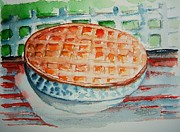 Lattice Painting Metal Prints - Apple Pie with Lattice Crust Metal Print by Elaine Duras