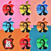 Digital Paint Posters - Apple Pop Art - Steve Jobs Tribute Poster by Radu Aldea