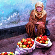 Eastern Europe Painting Prints - Apple Seller Print by Dominic Piperata