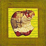 Food And Beverage Mixed Media Originals - Apple Series Number Five by Sonja Olson