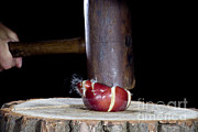 Apple Smashed With Mallet Print by Ted Kinsman