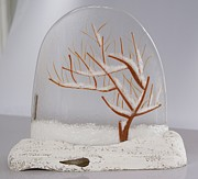 Apple Glass Art - Apple Tree in Winter by Eleanor Brownridge