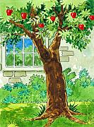 Retro Painting Acrylic Prints - Apple Tree Acrylic Print by Valerian Ruppert