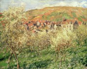 Apple Trees Framed Prints - Apple Trees in Blossom Framed Print by Claude Monet