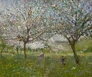 Apple-blossom Paintings - Apple Trees in Flower by Ernest Quost