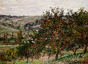 Scenic Country Framed Prints - Apple Trees near Vetheuil Framed Print by Claude Monet
