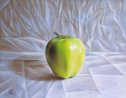 Apple Drawings Framed Prints - Apple Framed Print by Elena Kolotusha