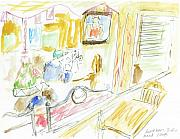 Indoor Drawings - Applebees Three Rivers by Valerie Vanorden