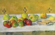 Table Cloth Painting Metal Prints - Apples and Biscuits Metal Print by Paul Cezanne