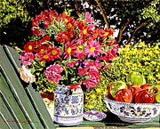 Crockery Framed Prints - Apples and Flowers Framed Print by David Lloyd Glover