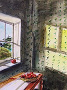 Jmwportfolio Drawings - Apples and Homespun by John  Williams