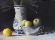 Teapot Paintings - Apples and Lemons by Suzanne Batchelor