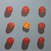 Orange Painting Originals - Apples and Orange by John Holdway