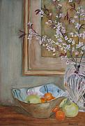 Silver Bowl Prints - Apples and Oranges Print by Jenny Armitage