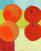 Food And Beverage Mixed Media - Apples And Oranges by Laurie Breen