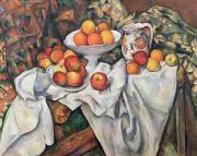 Tablecloth Paintings - Apples and Oranges by Paul Cezanne