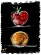 Juicy Digital Art Posters - Apples and Oranges Poster by Russell Pierce